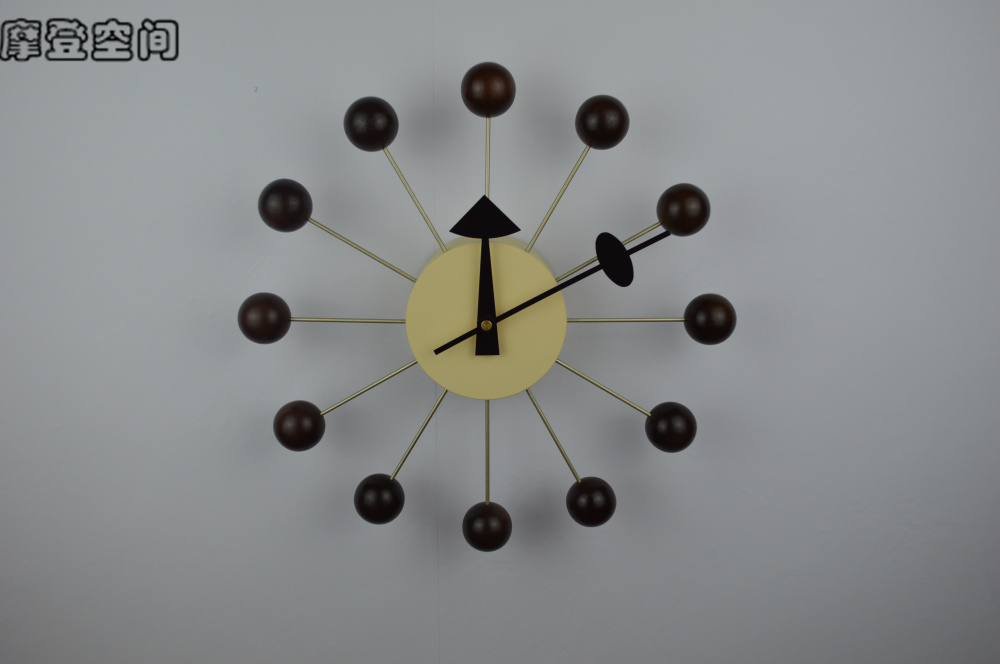 Replica Designer Ball Clock Walnut/wall Clock Modern