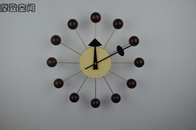 Replica Designer Ball Clock Walnut/wall Clock Modern Design/wall Decor/wall