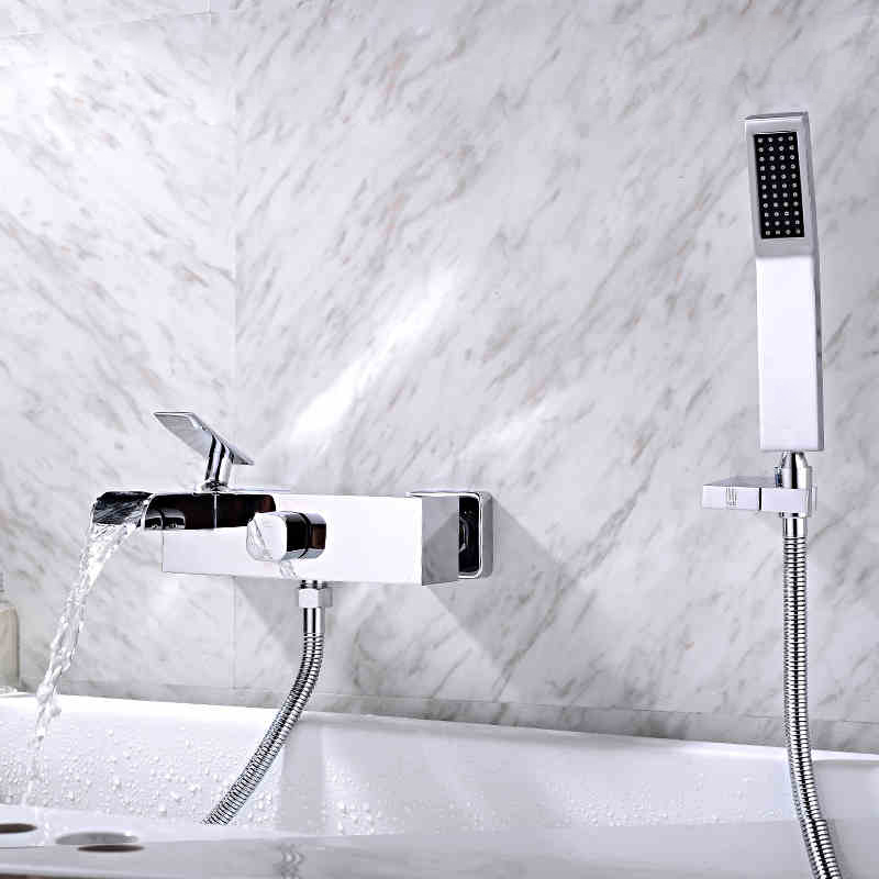 Bathroom Wall Mounted Faucet Bath Tub Mixer Tap With Hand Shower Head Shower Faucet hot and cold spout brass mixer torneira new tub spout wall mounted bathroom tub spout pool faucet tap golden brass