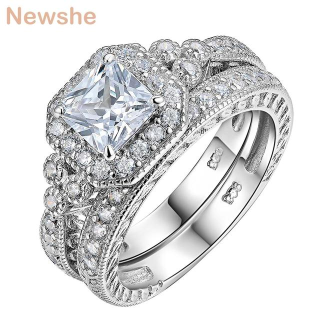 newshe genuine 925 sterling silver halo wedding ring set engagement band 12 ct aaa princess cz fashion jewelry for women jr4970 - Halo Wedding Ring Set