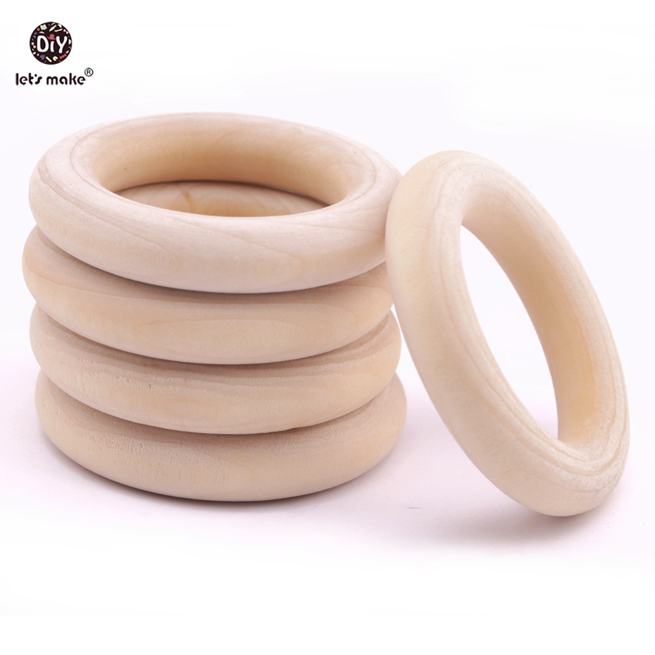 Let's Make Unfinished Wood Rings 20pc Natural Maple Wooden Teething For Baby Necklace Bracelets Play Gym DIY Crafts Baby Teether