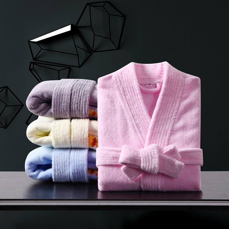 High Qualtity Children's Bathrobes Cotton Winter Boys Nightgown Super Soft Robe Girls Lengthen Thicken Pajamas Kids Bath Robes