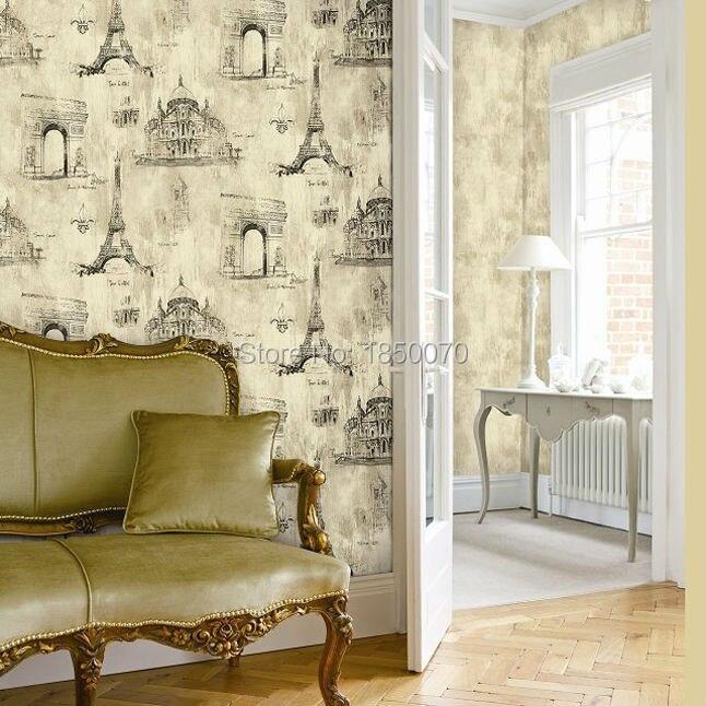 comprar estilo francs torre eiffel modelo del papel pintado del papel pintado vintage para el dormitorio saln paredes de wallpaper