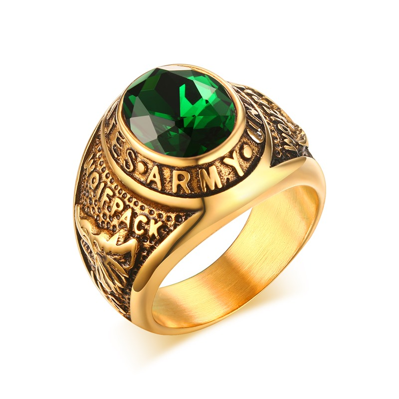 Mprainbow US Army Gold Overlay Mens Ring Simulated Emerald Green Cubic Zirconia Men's Jewelry US Size 8-11