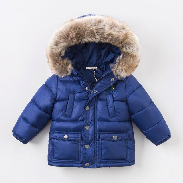 6288db9f8 Royal Blue Solid Winter Jackets Boys Kids Clothes Hooded children ...