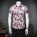 Moda 2017 Verano Para Hombre Camisetas Turn Down Collar Slim Fit los hombres camisa casual de manga corta de los hombres camisas floreadas brand clothing 5XL-M