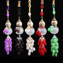 Car Pendant Perfume Bottle Colored Jade Crystal Beads Gourd Safe Glass Interiors Accessories Auto Decoration Air Freshener