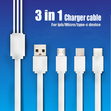3 in 1 Charging Cable USB Data line PVC flat line Micro USB Type-C 8 pin Fast Charging date Cable for Xiaomi/ Huawei /Android pofan p04 3 in 1 micro usb 8 pin type c zinc alloy data sync charging cable for ios android devices gold