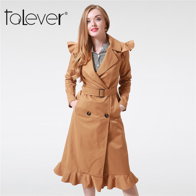 Women Casual Long Windbreaker Lady Elegant Double Breasted Long Sleeve Trench Coats with Sashes Female Winter Outerwear Talever