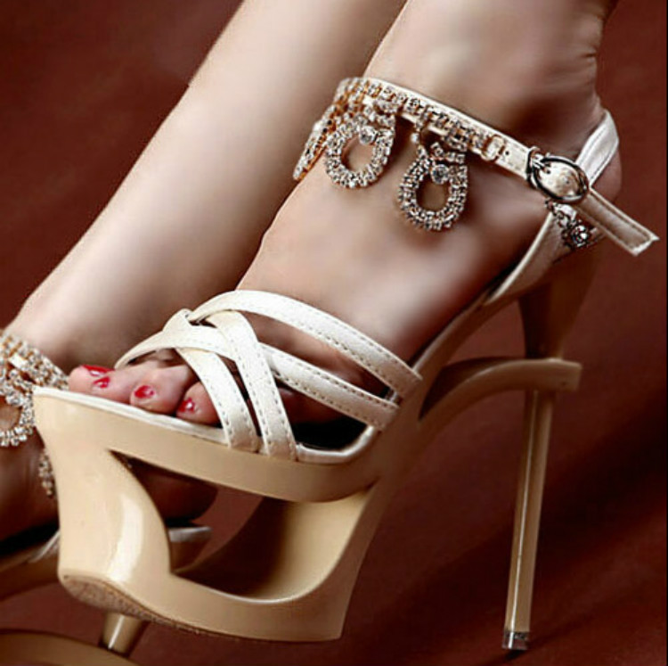 5db5664964a3 Kvoll satin rhinestone ultra high heels open toe sandals female button thin  heels tiangao
