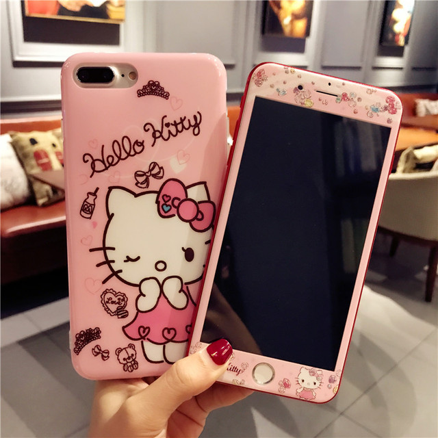 new style 0416b 38920 US $8.45 6% OFF|For iPhone 7 7Plus Cartoon Hello Kitty Cases + Tempered  Glass Screen film ,Cute TPU Cover smooth for Apple iPhone 6 6s Plus case-in  ...