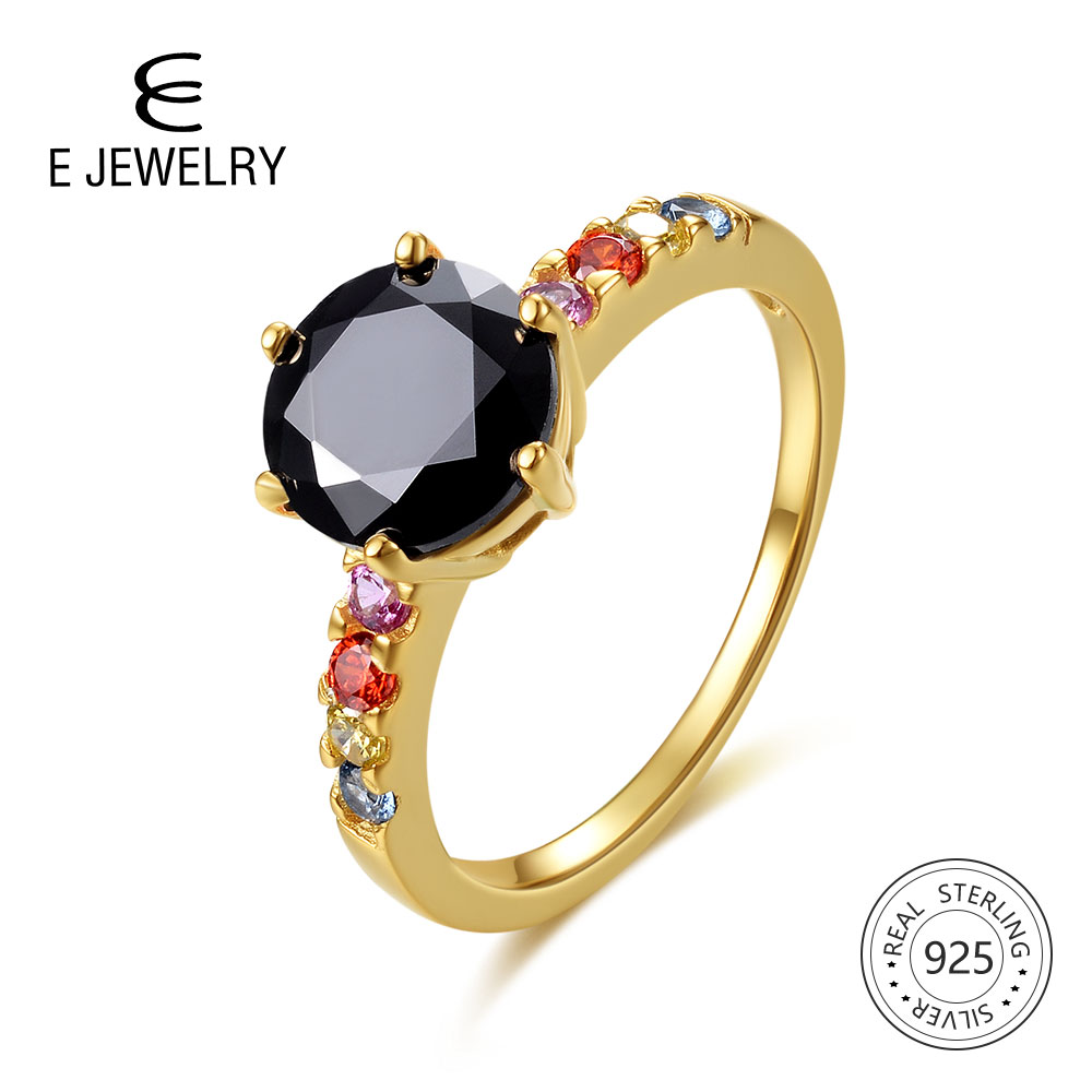 E Jewelry 925 Sterling Silver Rainbow Ring For Women 14K Gold Plated Colorful Gemstones Wedding Band Ring Silver 925 Black Agate