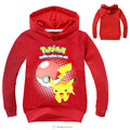 pokemon costume Hoodie toddler boys girls hooded pullover full sleeve tops children clothes pink black Size for 4 5 6 7 8 years