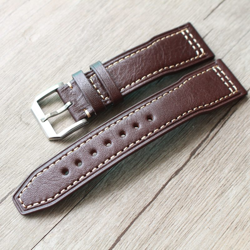 20mm 21mm Dark Brown Genuine Leather Watch Strap Watchbands For IWC/PORTUGIESER CHRONOGRA With Silver Buckle цена и фото