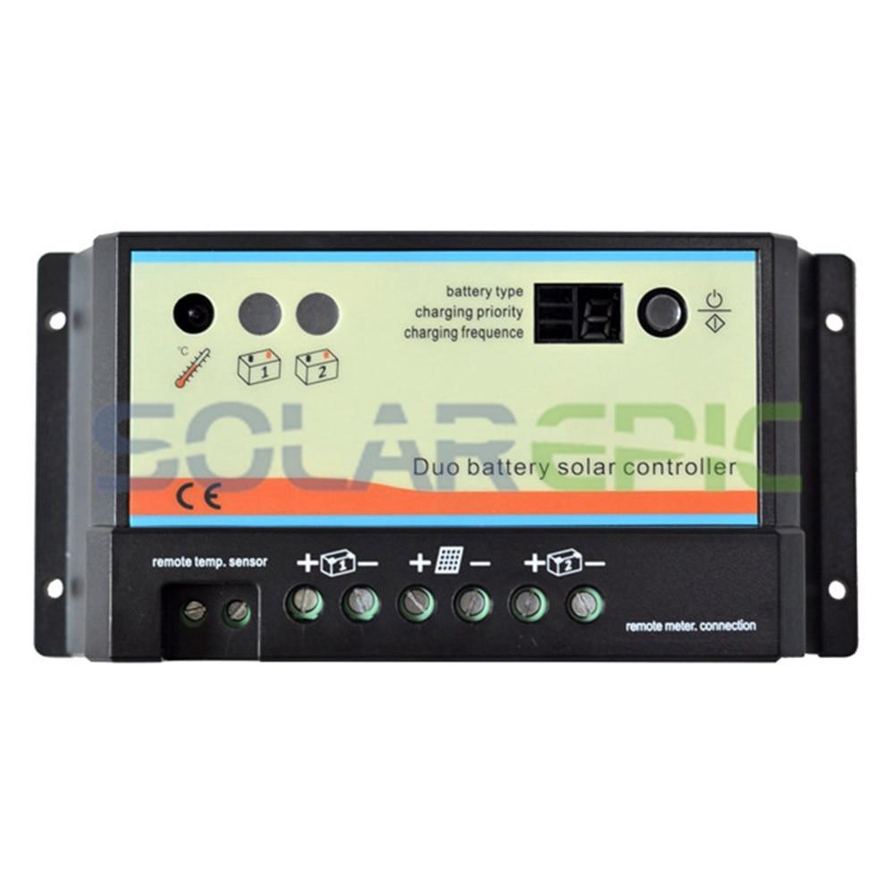 все цены на 20A Duo Battery Solar Panel Charge Controller Regulator 12V/24V AUTO Dual Battery Solar Charger PWM Controller онлайн