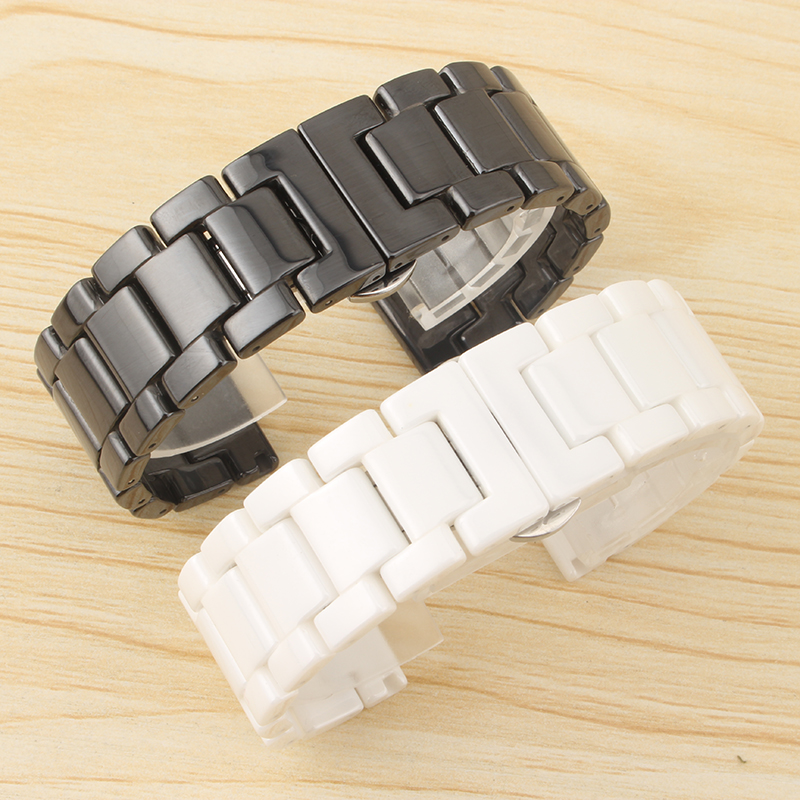 Quartz watch accessories 18MM20MM22MM black white ceramic strap double press butterfly buckle for men s ladies