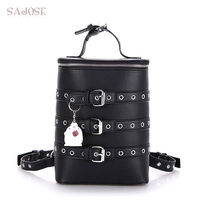 SAJOSE 2017 Shoulder Bag Female College Wind Bucket Type Women Leather Backpack High Quality Fashion Rivet