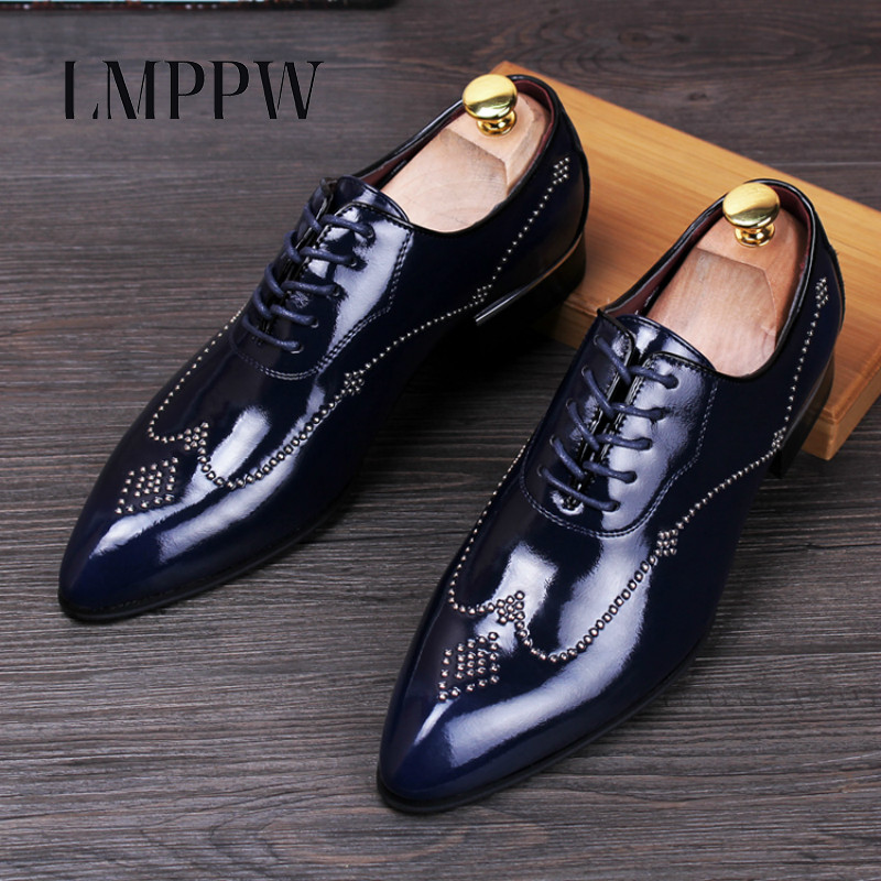 Fashion Brand Rivet Men Shoes Genuine Leather Oxford Shoes British Style Pointed Toe Brogue Shoes Party Wedding Dress Shoes Red цены онлайн