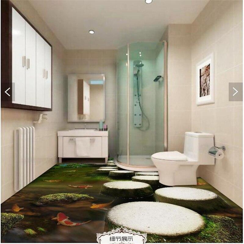 Benutzerdefinierte Boden 3D Wallpaper Stakes See Carp Bad Boden Mural 3d  Pvc Tapeten Selbstklebende