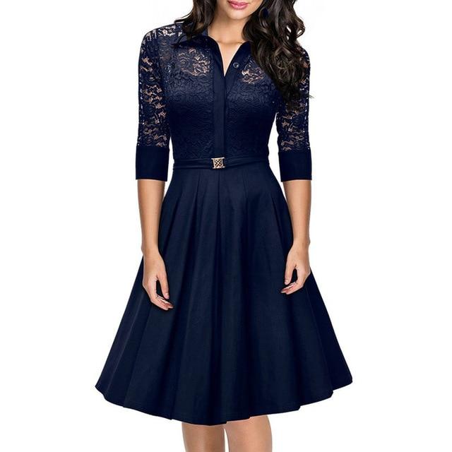 87f7b63812 Vestidos clasicos de mujer - Vestido azul