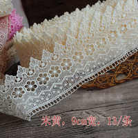 13 meter/pack Hollowed out diy European water soluble embroidery floral leaf decoration curtain home lace tassel trims M284