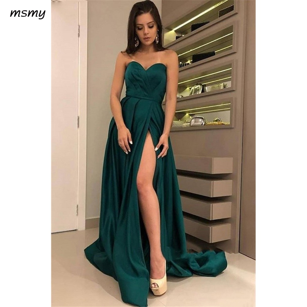 Dark Green Evening Dress Sexy Sweetheart Neck Left Slit Long Satin Woman Formal Party Gown