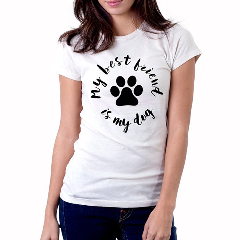 My best friend is my dog t shirt women cute dog lover t for Best casual t shirts