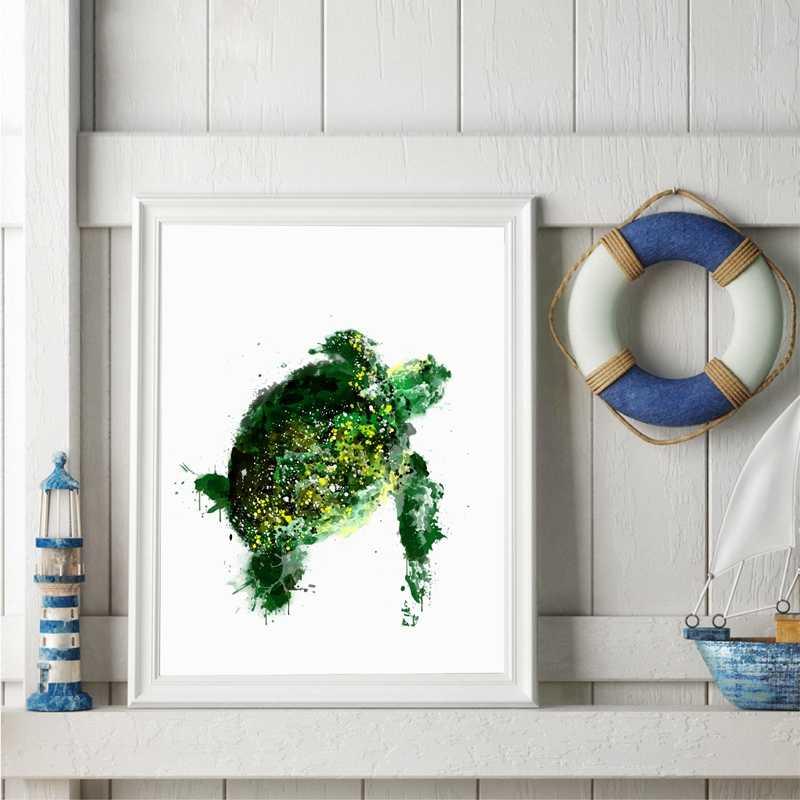 Soyut Deniz Kaplumbagasi Baski Resimleri Suluboya Okyanus