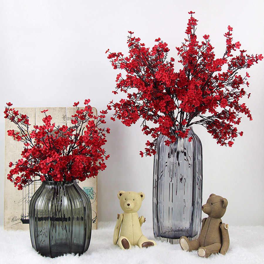 Cherry Blossoms ประดิษฐ์ดอกไม้ Baby's Breath Gypsophila ปลอมดอกไม้ DIY งานแต่งงานตกแต่งบ้านช่อดอกไม้ Faux สาขา