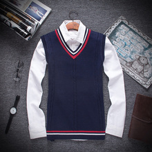 2017 autumn and winter Male fine cotton pure color man fashion v-neck knitted sweater vest Mens leisure business sweaters vests