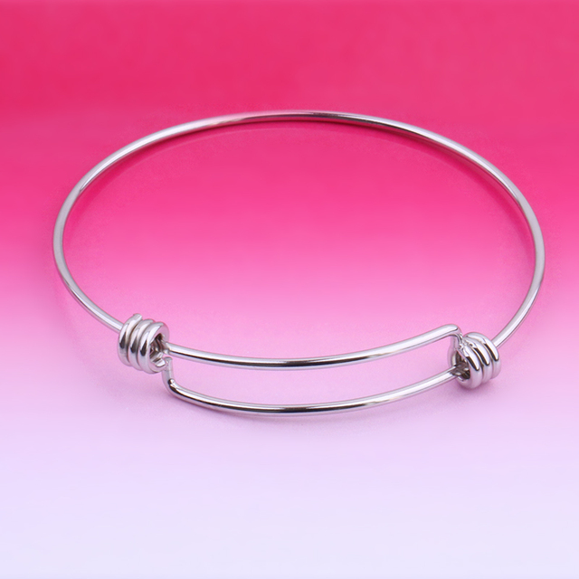 2pcs Stainless Steel Wire Bracelet Adjule Small Hanging Ornaments Diy Jeweley Accessory Handmade Beads No