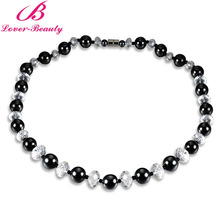 Lover Beauty 1PCS Magnet Stone Power Statement Necklace Therapy Health Care Hematite Accessories Unisex Jewelry Stone Choker -B5