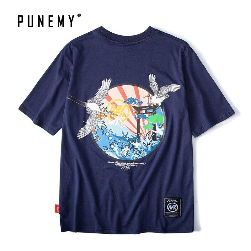 Harajuku japonais grues vague t-shirts hommes Hip Hop Vintage Streetwear Oversize top T-Shirts à manches courtes été dos imprimé t-shirt