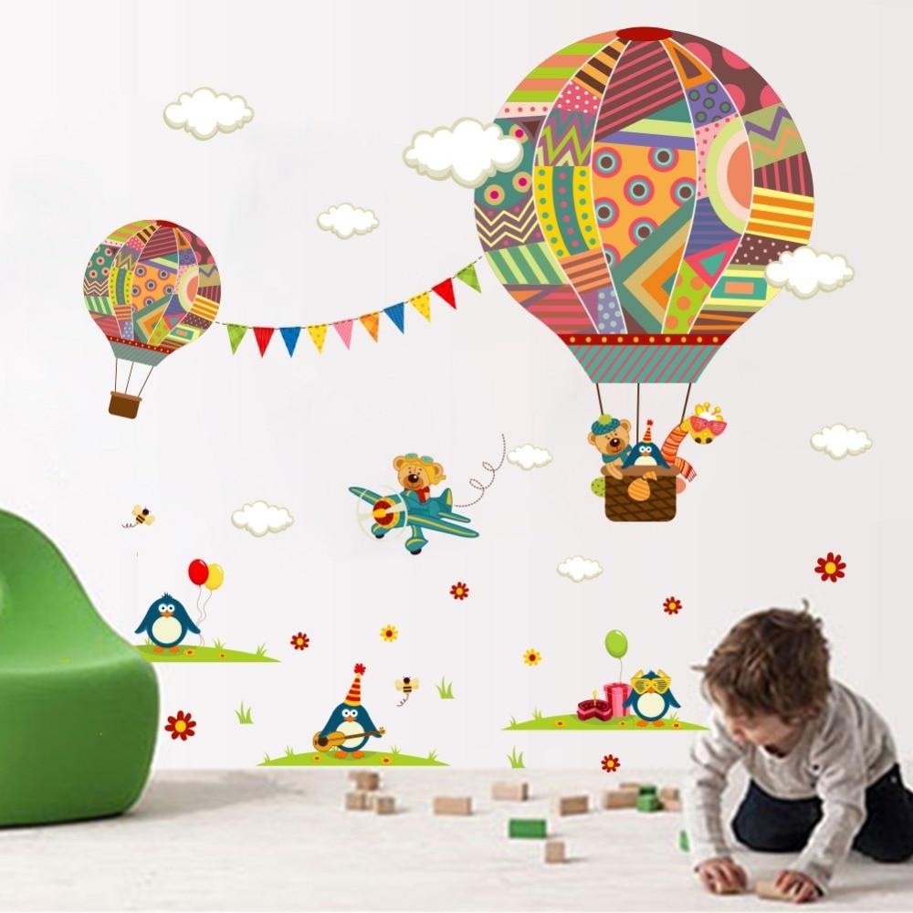 Colorful Hot Air Balloon Bear Giraffe Nursery Room Wall Sticker For Kids  Rooms Children '