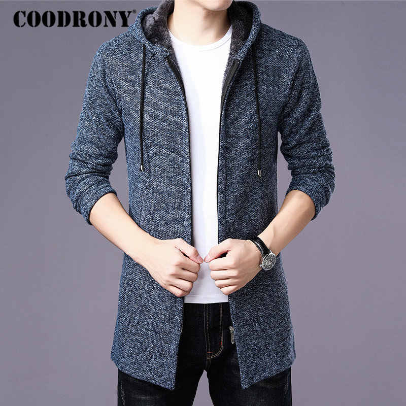 COODRONY Sweater Men Clothes 2019 Winter Thick Warm Long Cardigan Men With Hood Sweater Coat With Cotton Liner Zipper Coats H004