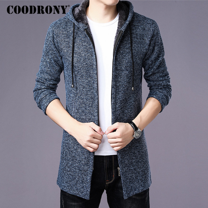 COODRONY Sweater Men Clothes 2019 Winter Thick Warm Long Cardigan Men With Hood Sweater Coat With Cotton Liner Zipper Coats H004 cardigan