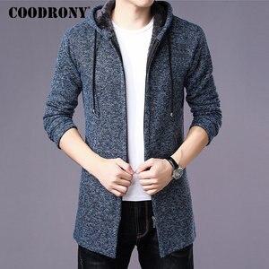 Image 1 - COODRONY セーター男性服 2019 冬厚く暖かいロングカーディガンの男性セーターコットンライナージッパーコート h004
