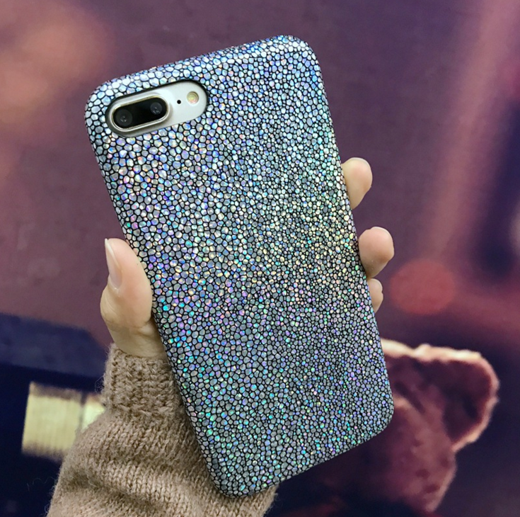AIBOR Luxury Bling Shining Fish Scales Laser Colorful Soft Case For iPhone 5 5S SE 6 6S 7 8 Plus X Phone PU Leather Cover Back