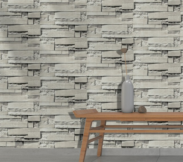 HaokHome Vintage Brick Wallpaper For Walls 3d Self Adhesive Grey Peel & Stick Contact Paper Living Room Kitchen Decor