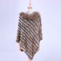 2017 Fashion Lady Genuine Rex Rabbit Fur Hand Knitted Shawl Raccoon Fur Trim Poncho Fur Cape Scarfs Scarves Wraps Multicolor