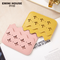 EMINI HOUSE Hollow Mini Credit Card Holder Split Leather Women Card Case