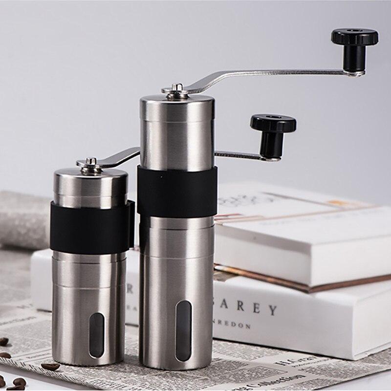 2 größe Hand Keramik Kaffeemühle Edelstahl Einstellbare Kaffee Bean Mühle Mit Gummi Schleife Ring Einfach Saubere Küche Werkzeuge