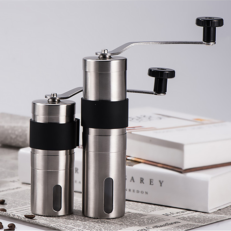 Molinillo de café de cerámica Manual de 2 tamaños Molino de granos de café ajustable de acero inoxidable con anillo de lazo de goma herramientas de cocina fáciles de limpiar