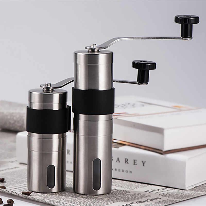 Moulin à café en céramique de 2 tailles, moulin à café réglable en acier inoxydable avec anneau en caoutchouc, outils de cuisine faciles à nettoyer