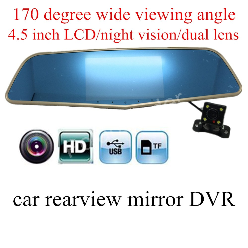 4.5 inch Novatek 96655 Car DVR Camera HD auto Rearview mirror recording night vision camcorder video recorder with rear camera