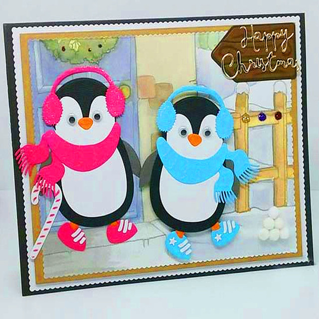 US $3.31 13% OFF|Penguin Owl Mouse Cat Panda Metal Cutting Die Stencils Template for Scrapbooking Card Album Embossing Decor DIY Metal Craft Gift-in ...