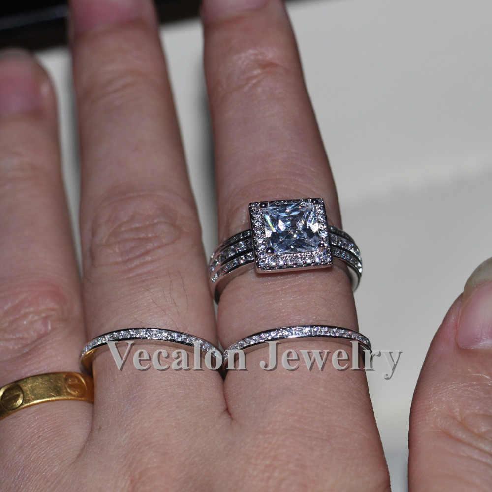 Vecalon casamento da Faixa Set anel para mulheres Presente de Noivado Jóias de Luxo 3ct AAAAA Zircão Cz 925 Esterlina anel de Prata Do Partido