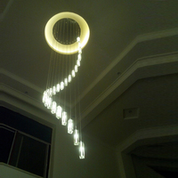 12 30 Pcs Modern LED Stair Lighting Crystal Chandelier For Living Room Penthouse Stairway Long Spiral