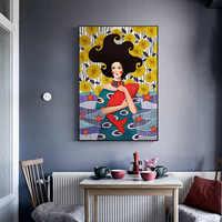 Nordic stil Cuadros Wand Kunst bild Romantische Leinwand drucke Malerei Cartoon Mädchen und Fisch für Mädchen schlafzimmer wohnzimmer Noframe