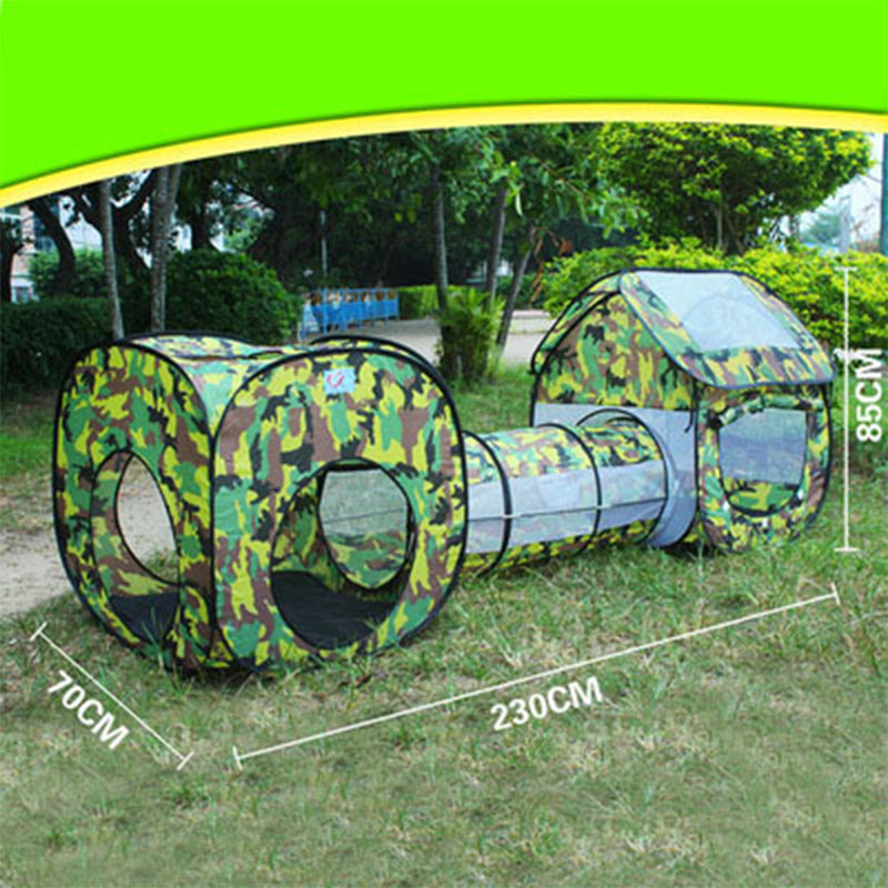 3 In 1 Camouflage Shuttle Toy Tent Tunnel Waterproof Baby Playhouse Kids Tent Tunnel Toys For Children Three-piece Ball Pool